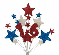 Number age 16th birthday cake topper decoration in red, white and blue - free postage